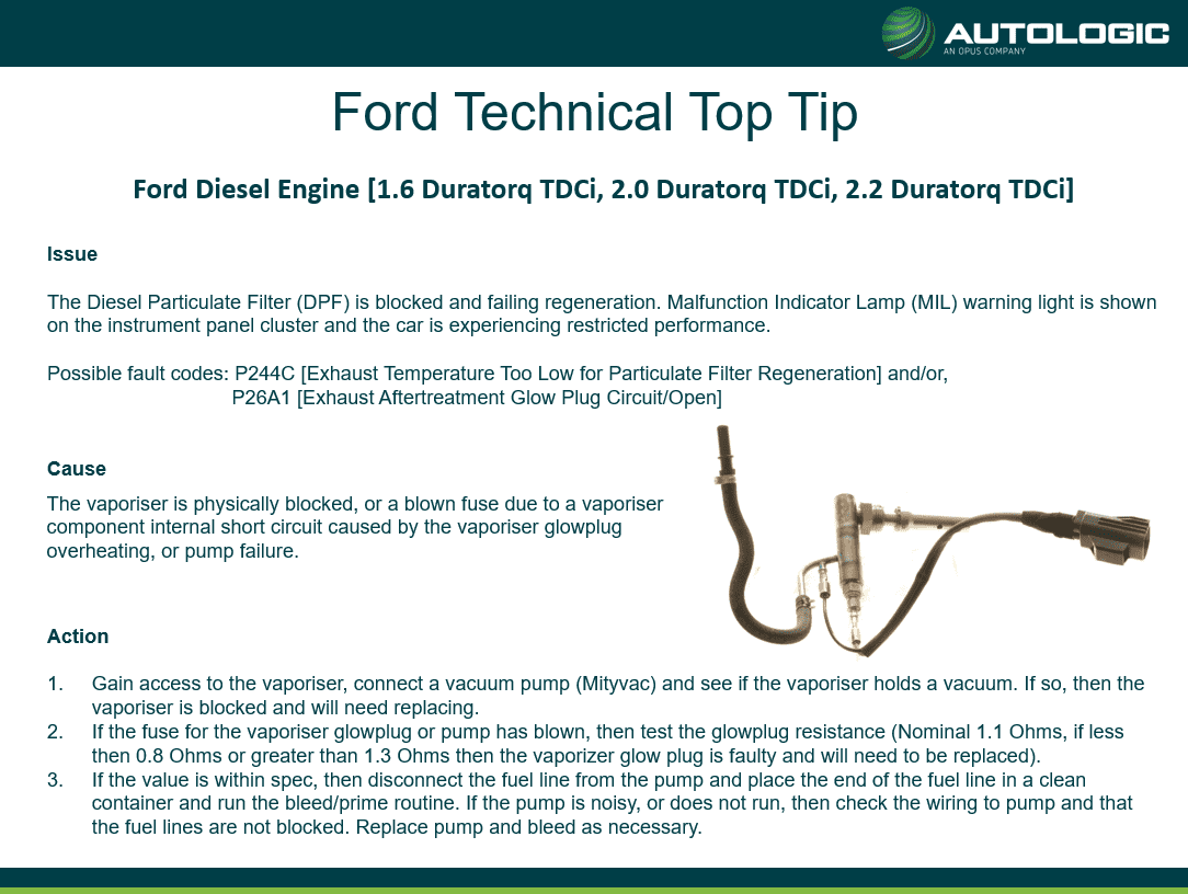 Ford Technical Top Tip - Diesel Engine Particulate Filter (DPF) is