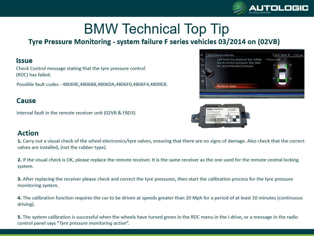BMW Tyre Pressure Monitoring - system failure F series vehicles 03