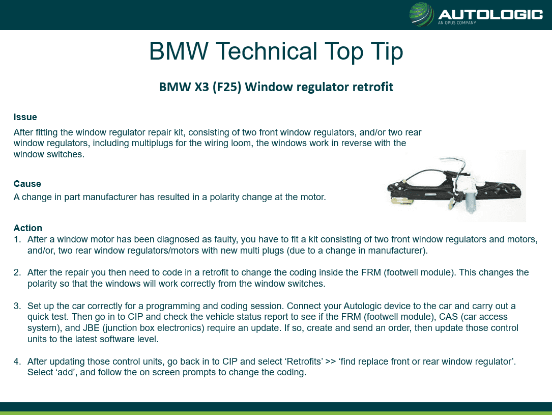 Top Tip - BMW X3 (F25) Window Regulator Retrofit