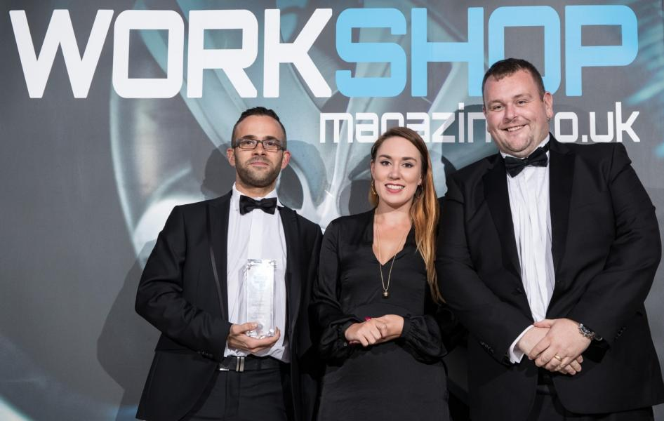 Pictured above: Chris Routledge, Rebecca Chapman (Award Presenter) and Steven White