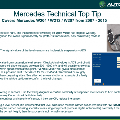 Mercedes - hard suspension and 'sport mode' function fault